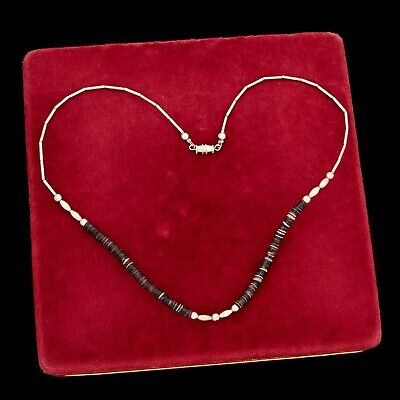 Antique Vintage Sterling Silver Native Navajo Black Shell Liquid Silver Necklace
