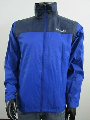 NWT Mens M Columbia Glennaker Lake Packable Hooded Waterproof Jacket - Azul