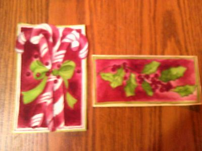 Two Christmas Candy Canes  Embroidered Iron On Patches w0118