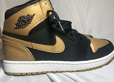 the latest bba59 699a4 Nike Air Jordan I Retro 1 High Melo Carmelo Black Gold Size 11 White 332550-
