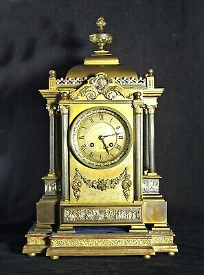 Quality Maxant Antique French Bronze & Brass Mantel Clock & Stand, Serviced, 17""