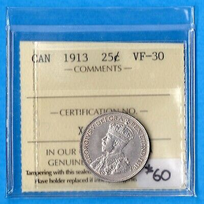 Canada 1913 25 Cents Twenty Five Cent Silver Coin - ICCS VF-30