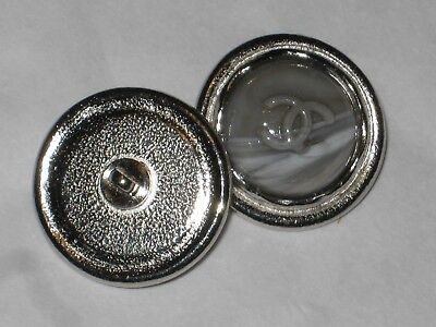 CHANEL AUTH 1 CC LOGO FRONT SILVER Gray Marble  BUTTONS  20 MM  NEW