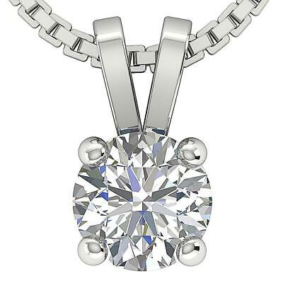 Solitaire Pendant Real Round Diamond 0.50 Ct Prong Set 14K White Gold Appraisal