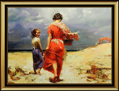 Pino Daeni Hand Embellished Giclee on Canvas Summer Retreat Signed Art oil rare