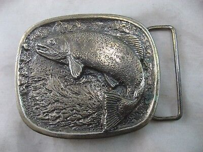 Rainbow Trout Buckle For Fishing Belt 1977 Wyoming Studio Art, Vintage Rare