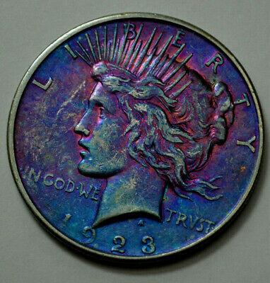 1923-D Peace Dollar Silver $1.00 US Coin, Toned, NO RESERVE !!