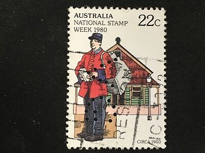 1980 Australia National Stamp Week 22C Postman With Bag Vg Perfin - Fine Used
