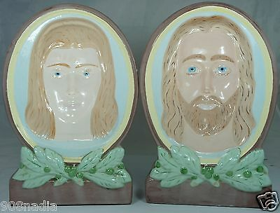 Vintage 1974 Hand Painted Chalkware Jesus Mary Images Folk Art Bookends Signed