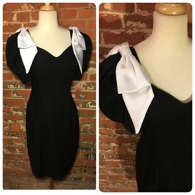 True Vintage 80's PARTY DRESS Black and White Bow Sleeve Sz S