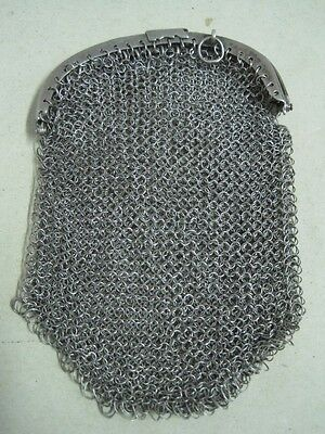 Antique Silver Chain Mail Mesh Lady Coin Purse