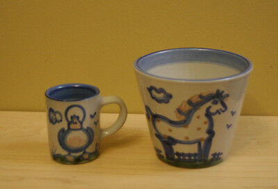 M.A Hadley Pottery Horse Pot and Duck Cup  The End Hand Painted Stoneware