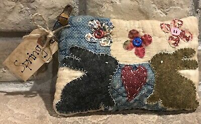 Primitive *Springtime Bunnies & Flowers* Shelf Pillow- Made From Vintage Quilt