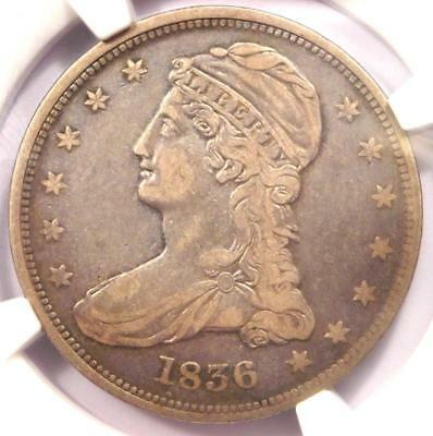 1836 Reeded Edge Capped Bust Half Dollar 50C Coin - NGC VF20 - Rare Key Date!