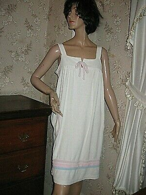 VINTAGE 1950s WHITE PINK/BLUE COTTON  TERRYCLOTH BEACH COVER-UP - SMALL