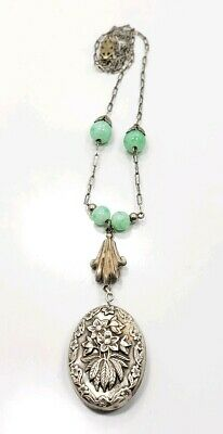 Vintage Art Deco Sterling Silver 925 Green Bead Flapper Ladies Necklace