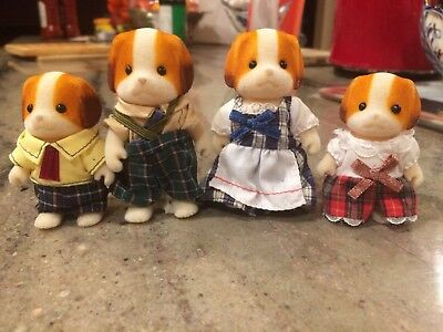 Calico Critters ~ Chiffon Dog Family of 4 ~ Sylvanian Families 4 Puppies Retired