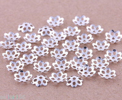 1000 pcs 6mm silver plated little flower bead caps spacer findings charms beads