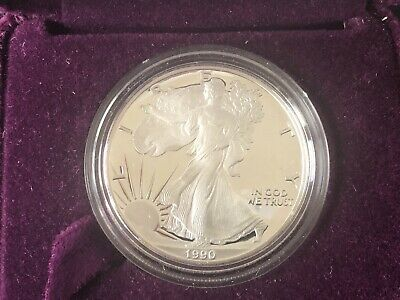 1990-S 1 oz Proof Silver American Eagle with Presentation Box.
