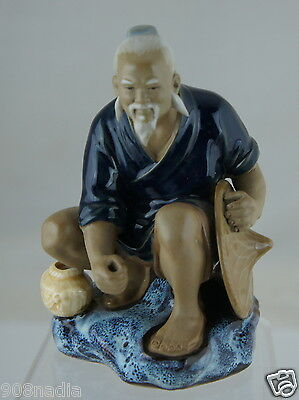 Vintage Shiwan Ceramic Glazed Art Pottery Chinese Figurine Mud Man W/ Hat