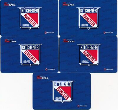 2013 Tim Hortons Gift Cards Timcards x5 OHL Kitchener Rangers FD36339 No Balance