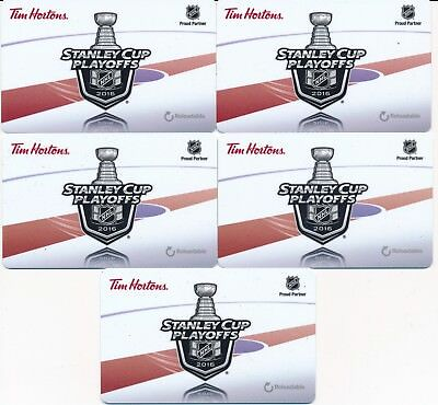 2016 Tim Hortons Gift Cards Timcards x5 NHL Stanley Cup FD51883 No Balance