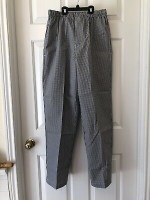 d1a896ba6 NEW CINTAS Chef Work Uniform Pants Cook Culinary Black White Check Baggy  SMALL