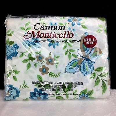Vtg Cannon Monticello FULL Flat Sheet Aqua Blue Floral w/ Butterfly Sealed NOS