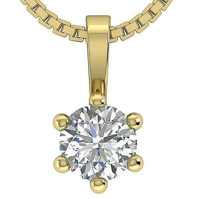 SI1 G 0.50 Ct Round Diamond Solitaire Pendant Necklace Six Prong 14K Yellow Gold