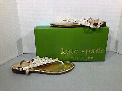 3abc79f7bb5 KATE SPADE SAMA Women s Sz 8 White PEARLS JEWELS T STRAP SANDALS SHOES  F7-367