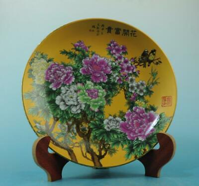 China old porcelain famille rose bird &flower pattern plate/qianlong mark 33 b02
