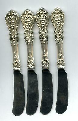 4 Francis 1st Paddle Butter Knives Reed & Barton Sterling Silver Handled 6-1/4 I