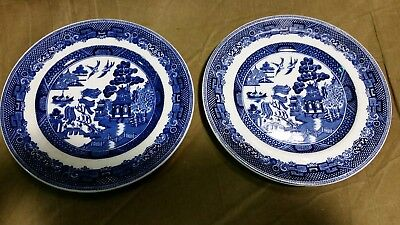 """Two Vintage Johnson Brothers Blue Willow 6 1 / 4 """" bread plates saucers"""