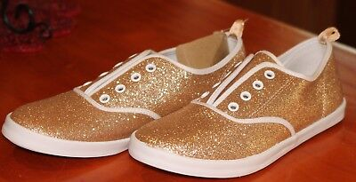 7a9ed0469eae GOLD Glitter Sneakers CRAZY 8 by Gymboree Girls Slip On Shoes Sparkle NEW  Sz 4
