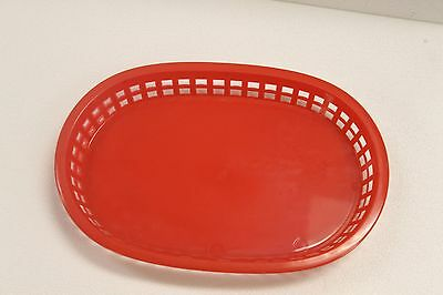 Lot of 6 Plastic OVAL FOOD BASKET Flat Bottom Sandwich Hamburger French Fry EUC