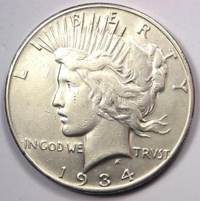 "1934-S Peace Silver Dollar $1 - Excellent Condition - Rare Date ""S"" Mint Coin!"
