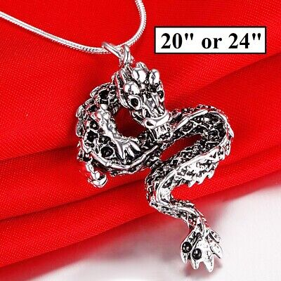 Womens Mens Sterling Silver Link Chain Necklace And Bold Black Dragon Pend. D675