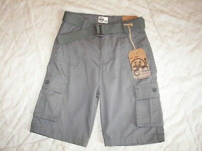 Boys Copper Denim Gray Cargo Shorts with Belt - Size 10 - New with Tags