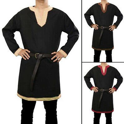 Retro Mens Medieval Stage Ethnic Viking Knight Shirts Cosplay Costume Tunic Tops