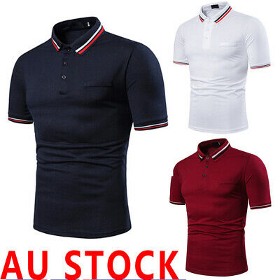 AU Men Slim Fit Polo Shirts Short Sleeve Casual Golf T-Shirt Jersey Tops Tee