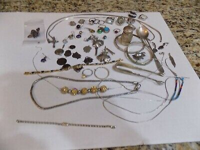 294 Grams Sterling Silver Lot Turquoise Lapis Stones Repair Harvest Scrap