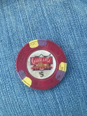$5 Paulson Casablanca Casino Chip Palm Beach Aruba (KC)
