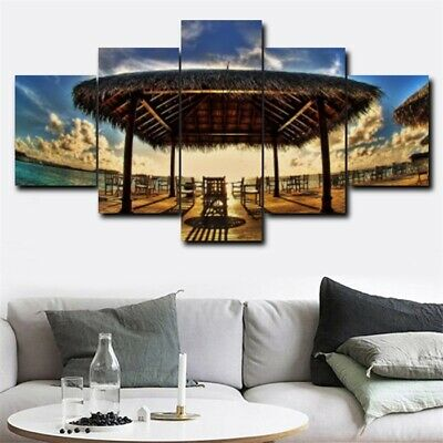 HD Print 5Pcs Seaside Pavilion Sunset Canvas Oil Wall Painting Modern Home Decor