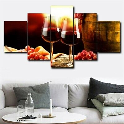 Canvas 5Pcs Red Wine Grapes HD Print Oil Wall Painting Modern Home Art Decor