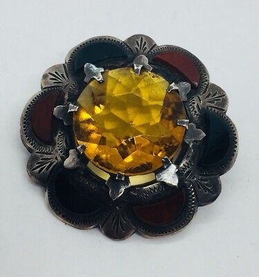 Antique Victorian Scottish Sterling Silver Bloodstone Agate Citrine Pin