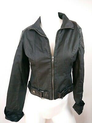 ad766a00e344 CONVERSE ONE STAR Womens Jacket Belted Black Lightweight Casual Jacket Size  S