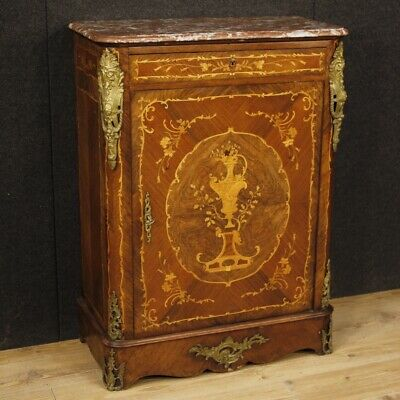 Cupboard french antique furniture wooden inlaid level marble 1 panel dresser 800