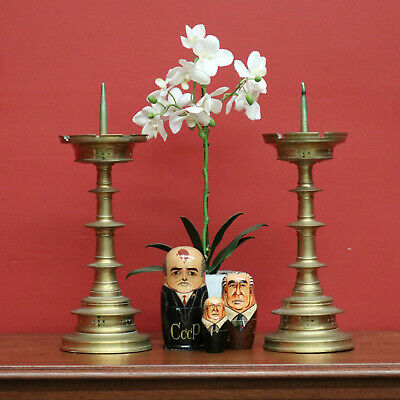 Pair French Antique Gothic Church Ecclesiastic Brass Altar Candle Stick Holders