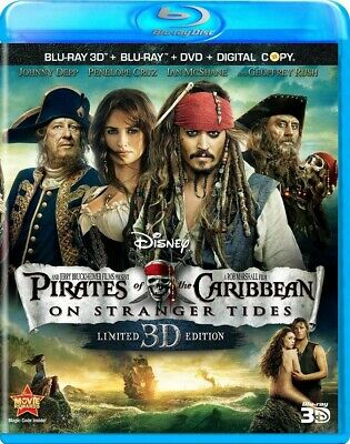 Pirates of the Caribbean: On Stranger Tides 3D (Blu-Ray + DVD 2015) LIKE NEW