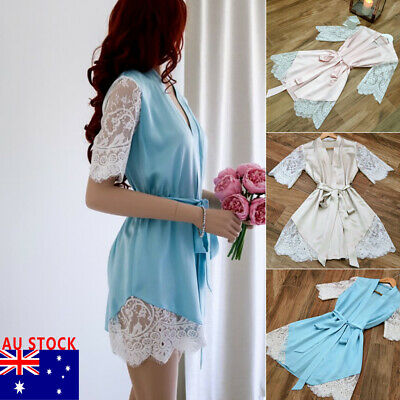 Women Satin Lace Sleepwear Babydoll Lingerie Nightwear Shorts Pjs Pyjamas Set AU